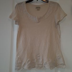 Women's Lucky Brand Cream Color Short Sleeve Shirt
